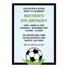 Soccer Ball Birthday Party Invitations Announcements