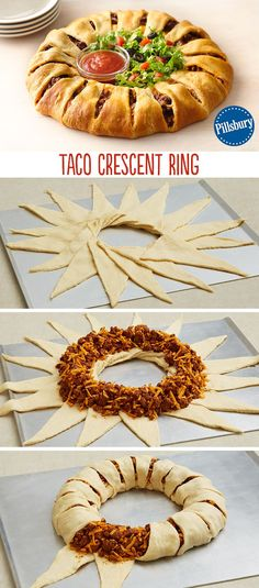 Create a new twist on a classic with this Taco Crescent Ring Dress it with fresh lettuce chopped tomatoes and salsa for a fun and easy weeknight dinner Serve for your fam. Think Food, I Love Food, Good Food, Yummy Food, Yummy Taco, Tasty, Crescent Roll Recipes, Taco Crescent Ring, Cresent Ring Recipes
