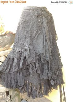 "20%OFF gothic steam punk vintage bohemian gypsy lagenlook boho wrap skirt...a work of art 44"" across plus ties."