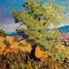 """Daily Paintworks - """"Tree on the Mountain Side"""" - Original Fine Art for Sale - © Judy Wilder Dalton"""