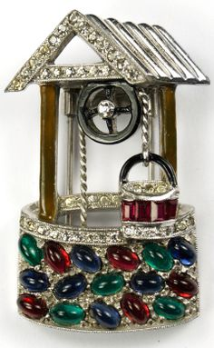 'Larry Winters' Pave Enamel and Multicolour Cabochons Wishing Well Pin Clip