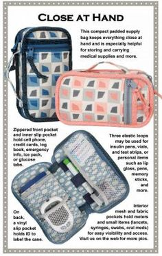Love This : Close At Hand compact padded case (for diabetic medical supplies & more) sewing pattern by Annie Unrein Free Sewing, Hand Sewing, Diabetic Cases, Diabetic Menu, Medical Student, Nursing Students, Medical Bag, Medical Coding, Diabetes Supplies