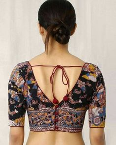 Buy Multicoloured Indie Picks Kalamkari Print Back Open Blouse Kalamkari Blouse Designs, Cotton Saree Blouse Designs, Saree Blouse Patterns, Designer Blouse Patterns, Bridal Blouse Designs, Kalamkari Blouses, Kalamkari Fabric, Kalamkari Saree, Lehenga Choli