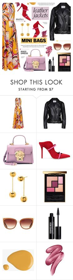 """""""Leather Jackets & Mini Bags - Street Style"""" by anyasdesigns ❤ liked on Polyvore featuring Emilio Pucci, Acne Studios, Dolce&Gabbana, Malone Souliers, Gorjana, Yves Saint Laurent, Barton Perreira, Edward Bess and Clinique"""