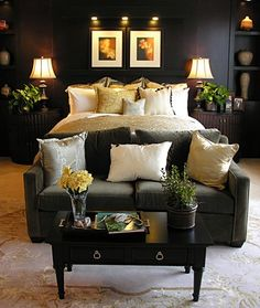 Love the idea of a love seat at the end of the bed as a true seating area.