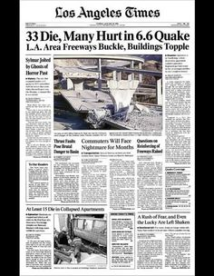 <h2>1994</h2>January 18 — Northridge earthquake brings death and destruction