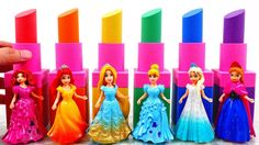 Learn Colors Kinetic Sand Rainbow Lipsticks VS Disney Princess Surprise ...