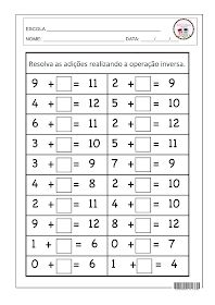 SOSPROFESSOR-ATIVIDADES: Adição com operação inversa. Jackson School, Cursive, Worksheets, Periodic Table, Teaching, Maths, Professor, Preschool Literacy Activities, Word Bingo
