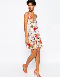 ASOS Strappy Back Floral Print Mini Skater Dress