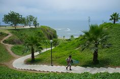 Walking to and from the beach in Miraflores district of Lima, Peru.