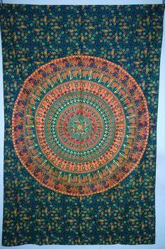 Elephant Mandala Tapestry Hippie Indian Tapestry by JaipurHandloom, $19.99