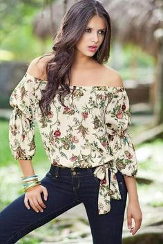 Floral off the shoulder top.