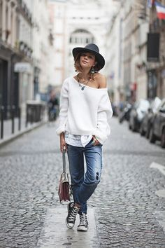 Sweater American Vintage (Model Vacaville) (like here and here )  Top Mango  (similar  here )  Jean Diesel (similar here )  Trainers Converse // Bag Gucci // Hat Herman Headwear  Necklaces Apostolos & Mathilde My Muse X Zoe