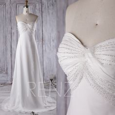 2016 Off White Chiffon Bridesmaid Dress Train,Sweetheart Beading Wedding Dress,Strapless Prom Dress Empire Waist, Evening Gown Floor (JW087) by RenzRags on Etsy https://www.etsy.com/listing/477431848/2016-off-white-chiffon-bridesmaid-dress