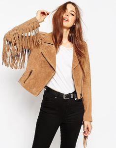 Camel suede jacket with fringes