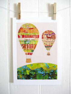 Nursery Decor Hot Air Balloons by KathyPanton on Etsy Printed Balloons, Nursery Art, Nursery Ideas, Nursery Decor, Whimsical Nursery, Girl Nursery, Room Ideas, Room Decor, Preschool Art