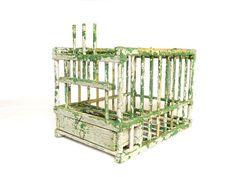 Cage oiseau en bois shabby chic vintage française  Ancienne
