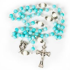 Rosary Catholic, Rosary Beads, Religious Gifts, Sacred Heart, Turquoise Stone, Hail Mary, Pearls, Handmade Gifts, Catalog