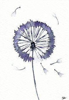 Dandelion, original ACEO çwatercolor by Sonia Aguiar.