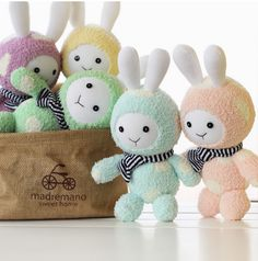 Kawaii Cute Sock Baby Bunnies/ Rabbits with Scarves, Sock Animals, Children-Friendly, Handmade Home Decor