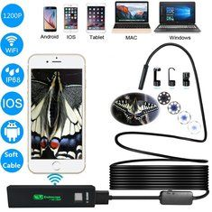 #Banggood 1200P IP68 8 LED Adjustable Lights 8mm Waterproof WiFi Endoscope Camera for PC Android iOS Soft Line (1177716) #SuperDeals