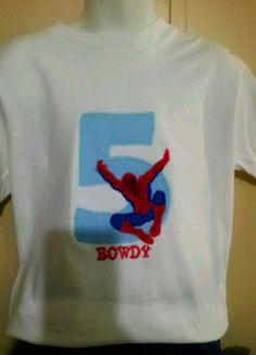 spiderman birthday applique shirt