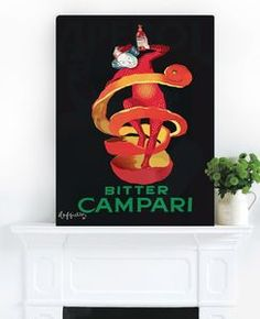 Campari Twist, Ready To Hang Vintage Art - paintings & canvases