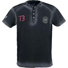 """Classica #T-Shirt uomo """"Will Never Die"""" degli AC/DC nera effetto scolorito con ricamo sulla manica destra e bottoni con design #ACDC."""