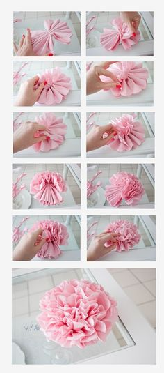 Pinned as a reminder to try this classic tissue paper flower technique with fabric instead.  Fabric color and type [e.g. very thin, stiff vs floppy, and/or layers of various types, colors and prints] should have interestingly different results!  If somebody gets [or has already gotten] around to trying it before I do, be sure to send me some pics!!