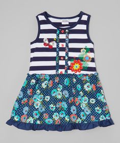 Another great find on #zulily! Blue Stripe Butterfly Tank Dress - Infant, Toddler & Girls by Poco & Picotine #zulilyfinds