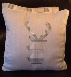 Stag's head tartan applique