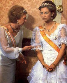 La Reina Sofía de España con la Gran Duquesa Josefina Carlota de Luxemburgo 1980