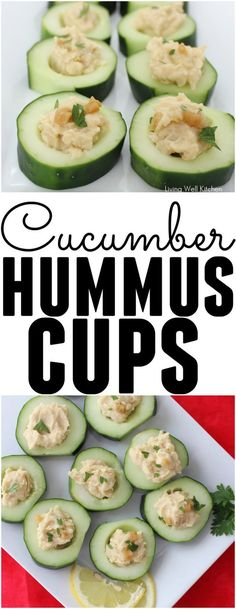Refreshing and delicious, these Cucumber Hummus Cups are the perfect summer snack or appetizer! Gluten free, vegan, and easy to make. These are a great recipe for entertaining or snacking