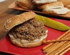 Seasoned ground beef loose meat sandwiches that are similar to a sloppy joe without the tomato base. These work great for feeding a crowd and keep warm nicely in a slow cooker. Loose Meat Sandwiches, Wrap Sandwiches, Maidrites Recipe, Good Food, Yummy Food, Fire Cooking, Burger And Fries, Delicious Burgers, Beef Dishes