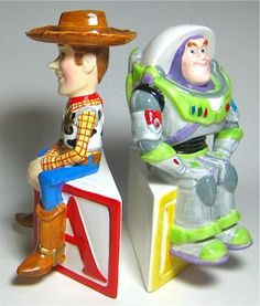 Woody and Buzz Lightyear sitting on blocks salt and pepper shaker set