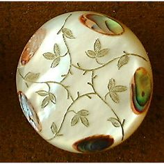Antique Mother of Pearl button, engraved and inlaid abalone, circa 19th century
