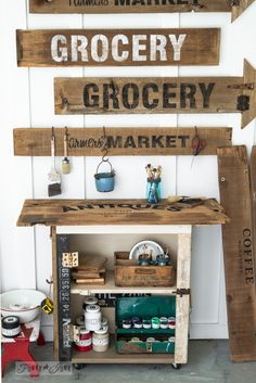 DIY from and old cupboard..Rustic paint cart  with Fusion Mineral Paint and Old Sign Stencils / FunkyJunkInteriors.net