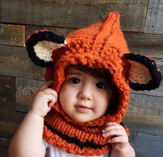 Kids Fox Hat, Kids Fall Winter Hat, Fox Hoodie, Knit Cowl Fox, Animal Hat with ears, Hooded Cowl, Knitted Fox Hood, Unique Kids Gift