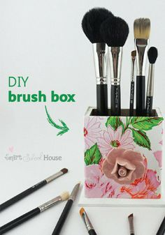 Declutter your vanity and show off your brushes with this cute DIY box!