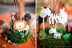 Another fun do-it-yourself zoo themed centerpiece    Credit: Mustard Seed Organic Photography http://blog.mustardseedphoto.com/thomas-is-2-birthday-party-hermann-park-houston-zoo/#
