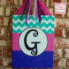 Hand Painted Monogrammed Canvas with Chevron by Pink Brushstrokes on Etsy $18