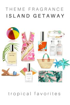 Island Getaway with Themefragrance.com. Perfect additions to your suitcase when you travel to your favorite beach. Sarong tropical vanilla perfume, Aqua Fresca aquatic melon perfume by Curious Apothecary, Coral Skye a delicious passion fruit floral...