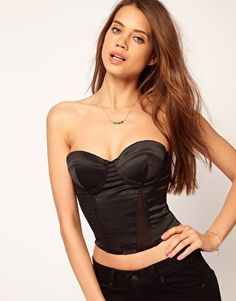 ASOS Corset With Seamed Satin Panel
