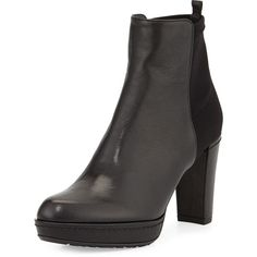 Stuart Weitzman Otherhalf Leather & Suede Bootie ($520) ❤ liked on Polyvore