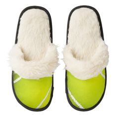 Tennis Design Slippers Pair Of Fuzzy Slippers