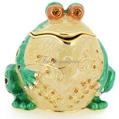 Whimsical Frog Trinket Box With Swarovski Crystal