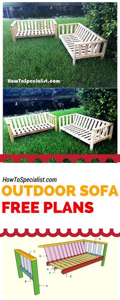 How to build an outdoor sofa - Easy to follow plans and instructions for you to make a backyard couch using just 2x4s! howtospecialist.com #diy #outdoorfurniture