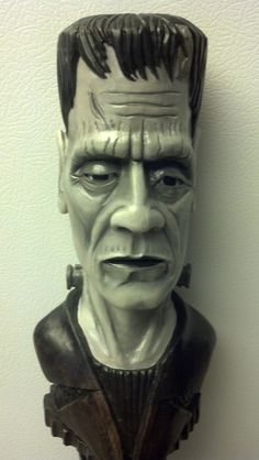 Walking stick , Staff , Frankenstein, hand-carved