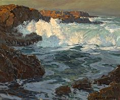 Edgar Alwin Payne (1883-1947). Surging Sea. Oil on Canvas 20 x 24 in.