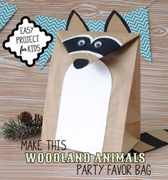 Have the kids make their own favor bag as part of the party activities. Included is a template and step by step instructions to make a Raccoon Favor Bag for a Woodlands Animals party.